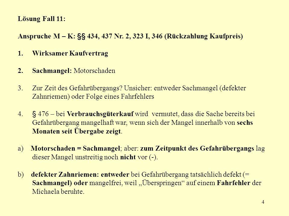 Lösung Fall 11: Anspruche M – K: §§ 434, 437 Nr. 2, 323 I, 346 (Rückzahlung Kaufpreis) Wirksamer Kaufvertrag.