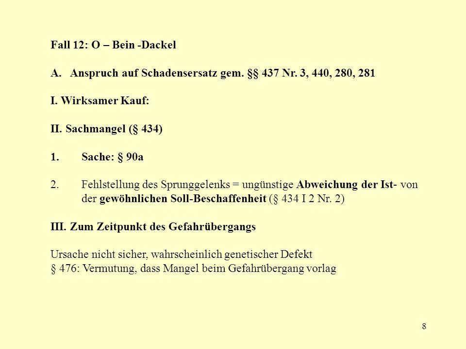 Fall 12: O – Bein -Dackel A. Anspruch auf Schadensersatz gem. §§ 437 Nr. 3, 440, 280, 281. I. Wirksamer Kauf: