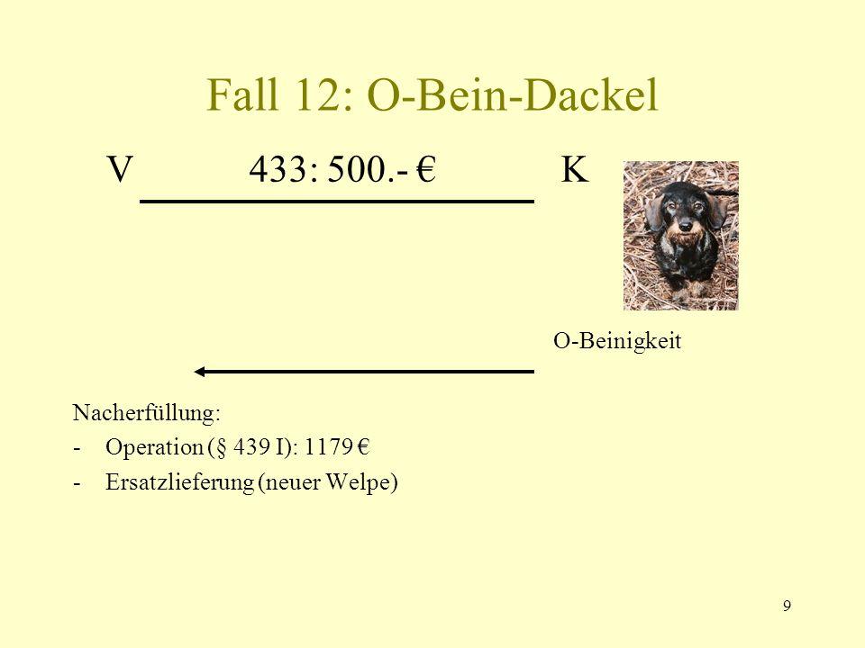 Fall 12: O-Bein-Dackel V 433: 500.- € K O-Beinigkeit Nacherfüllung: