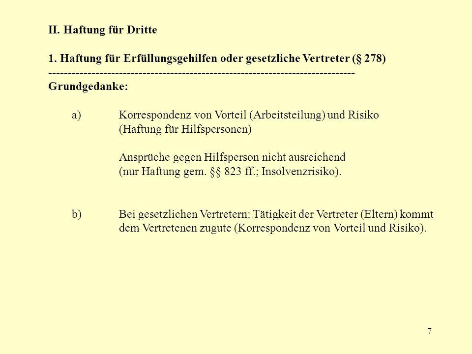 II. Haftung für Dritte 1. Haftung für Erfüllungsgehilfen oder gesetzliche Vertreter (§ 278)
