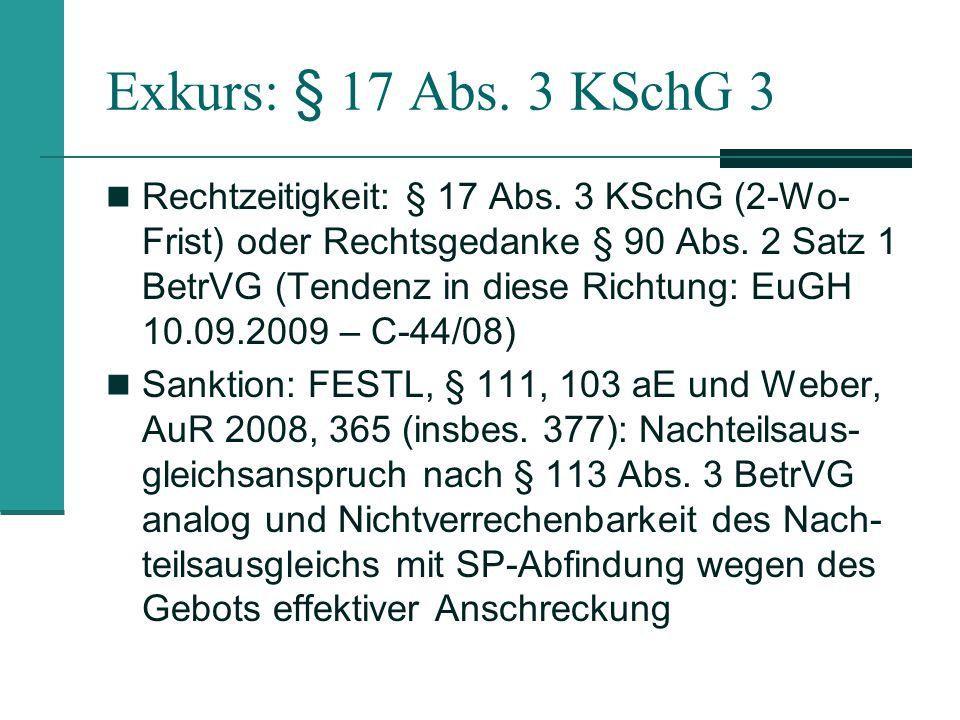 Exkurs: § 17 Abs. 3 KSchG 3
