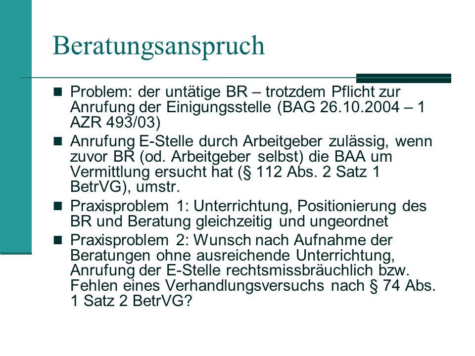 Beratungsanspruch Problem: der untätige BR – trotzdem Pflicht zur Anrufung der Einigungsstelle (BAG 26.10.2004 – 1 AZR 493/03)
