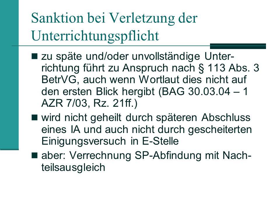 Sanktion bei Verletzung der Unterrichtungspflicht