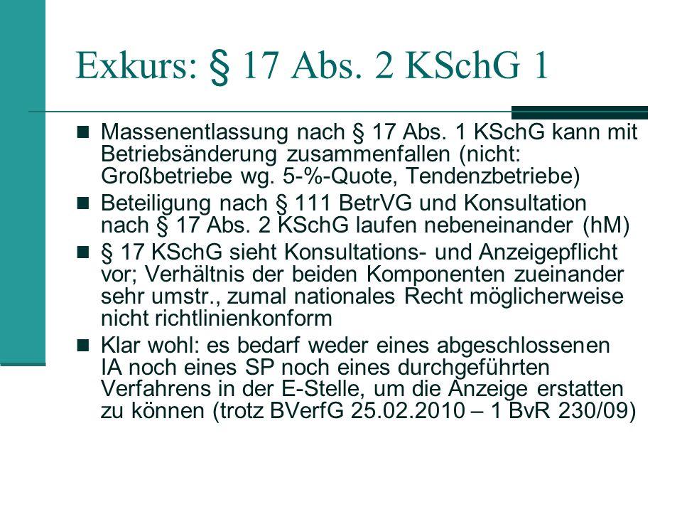 Exkurs: § 17 Abs. 2 KSchG 1
