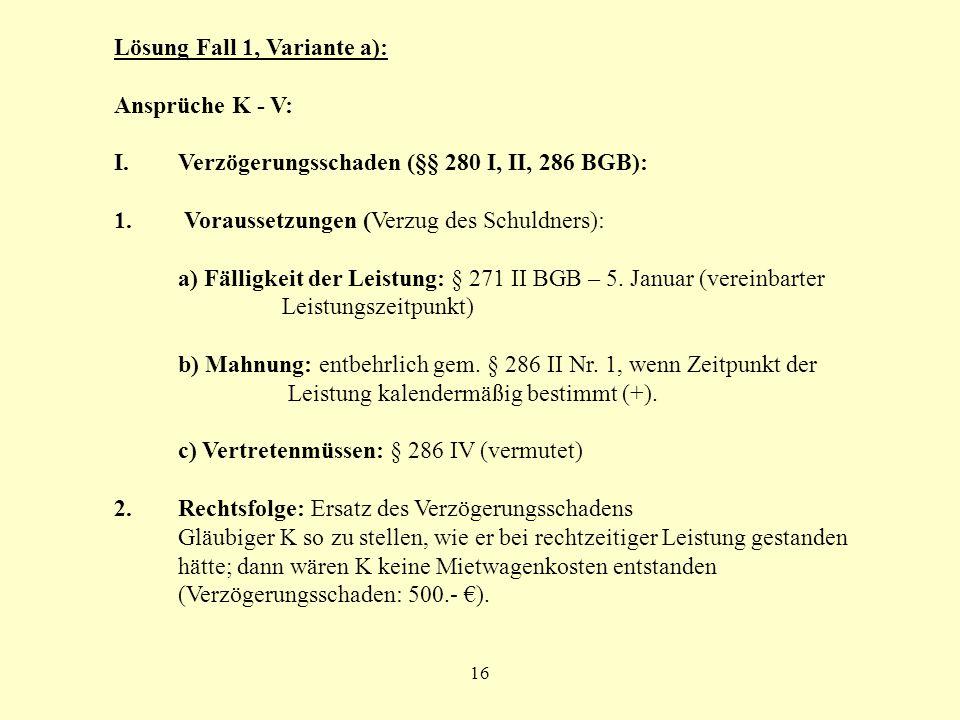 Lösung Fall 1, Variante a): Ansprüche K - V: