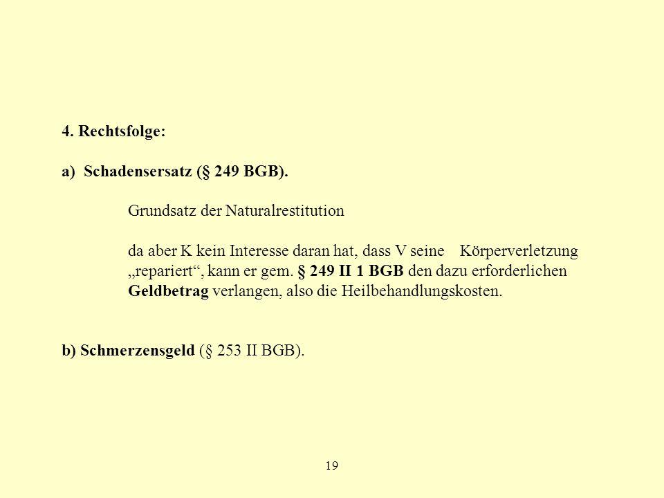 a) Schadensersatz (§ 249 BGB). Grundsatz der Naturalrestitution