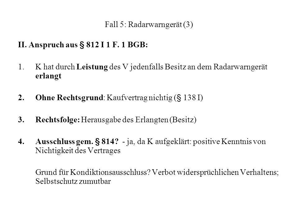 Fall 5: Radarwarngerät (3)