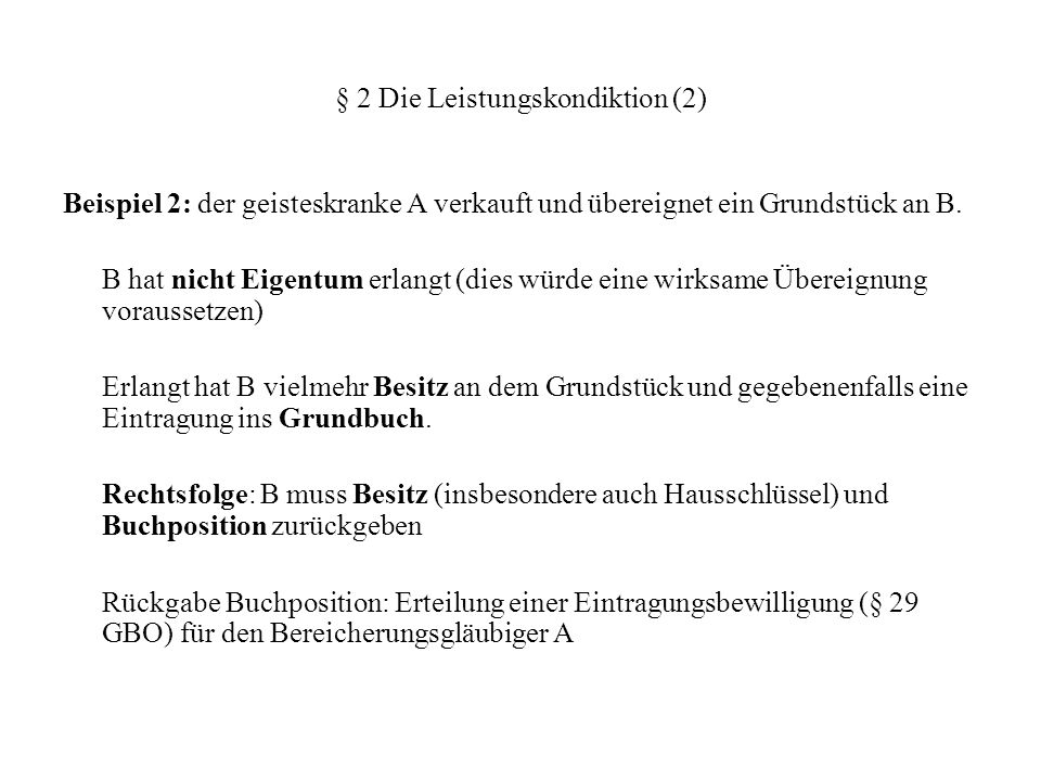 § 2 Die Leistungskondiktion (2)