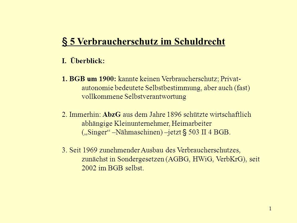 § 5 Verbraucherschutz im Schuldrecht