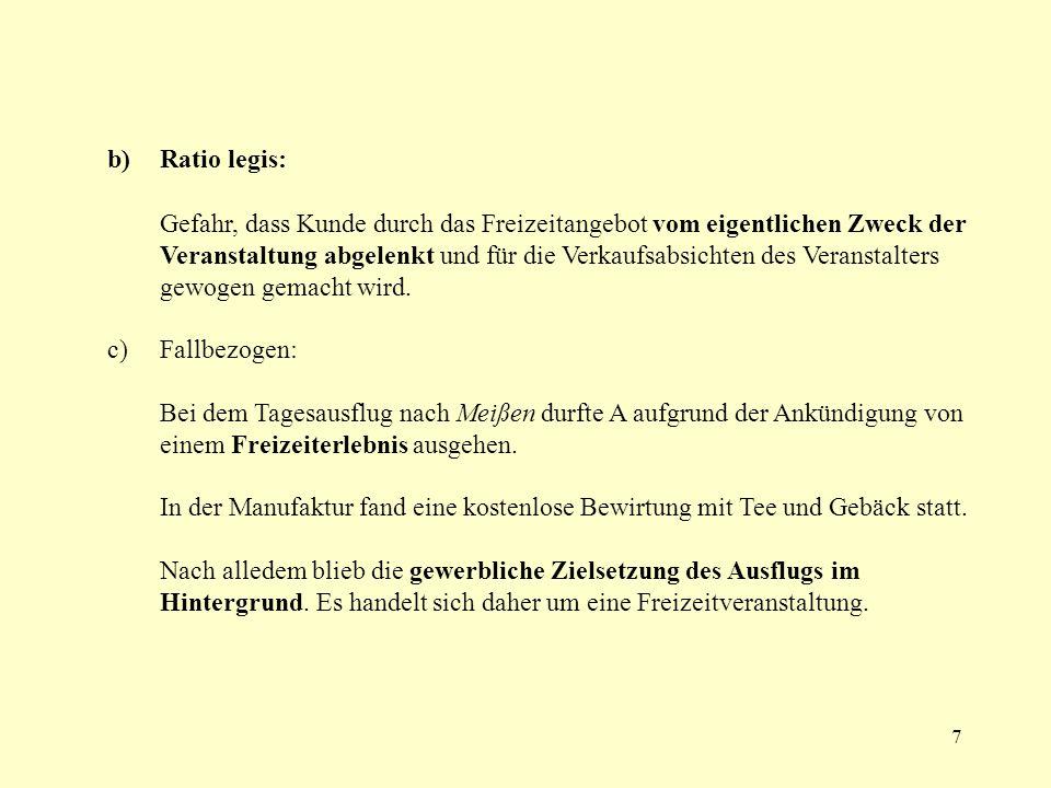 b) Ratio legis: