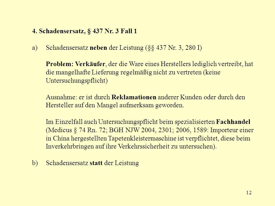 4. Schadensersatz, § 437 Nr. 3 Fall 1