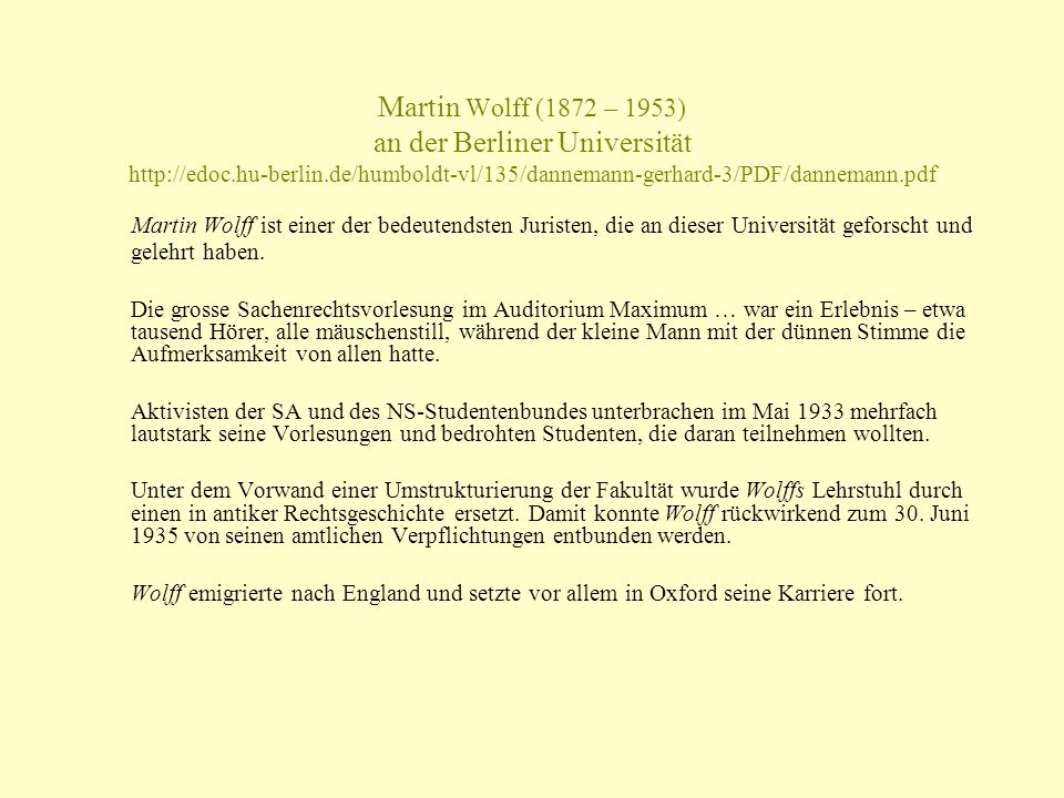 Martin Wolff (1872 – 1953) an der Berliner Universität http://edoc