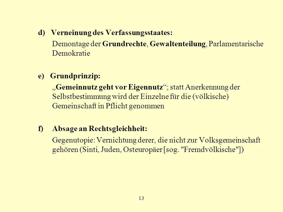 d) Verneinung des Verfassungsstaates: