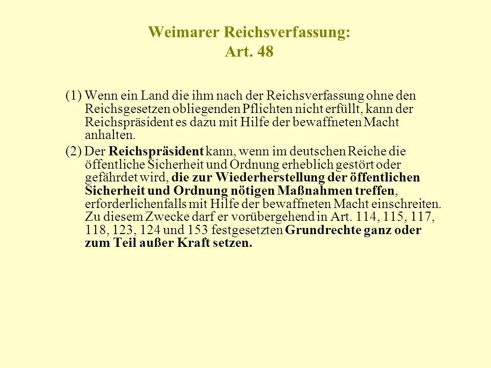 Weimarer Reichsverfassung: Art. 48