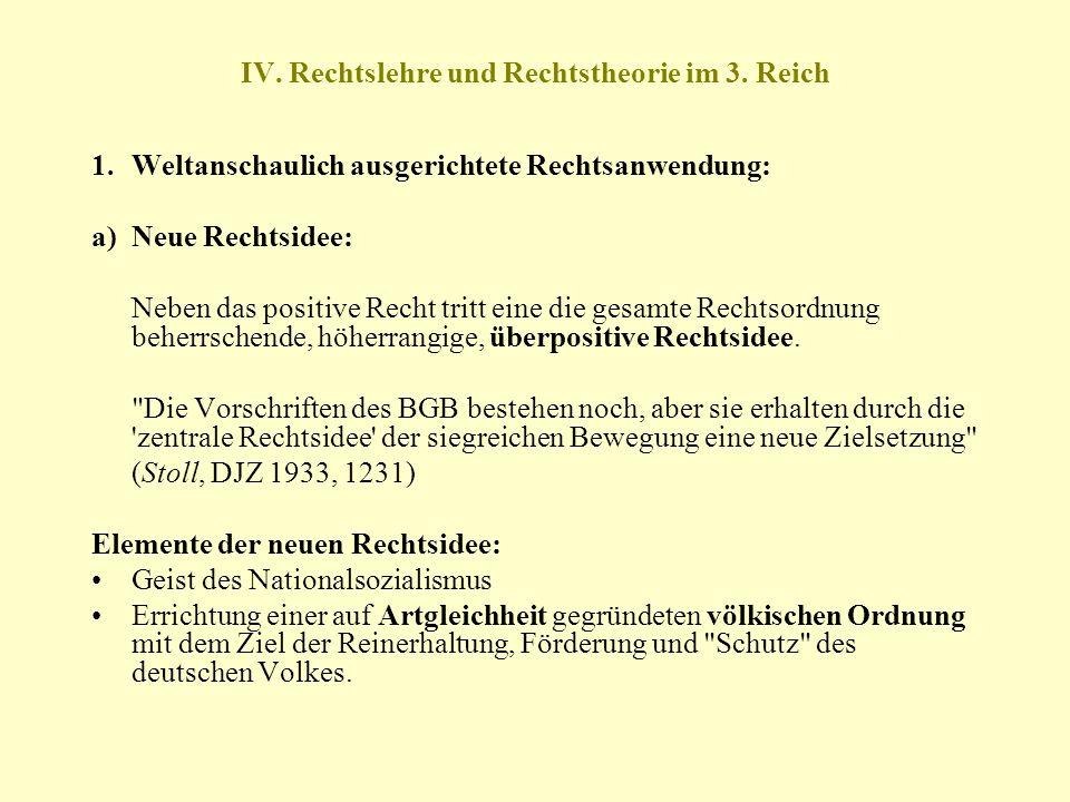 IV. Rechtslehre und Rechtstheorie im 3. Reich