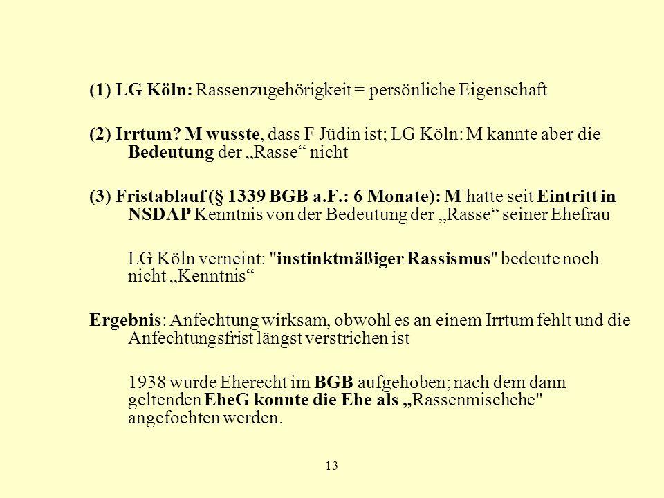 (1) LG Köln: Rassenzugehörigkeit = persönliche Eigenschaft