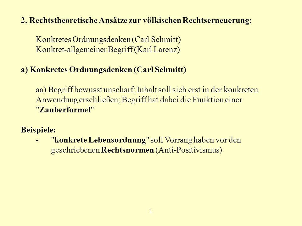 2. Rechtstheoretische Ansätze zur völkischen Rechtserneuerung: