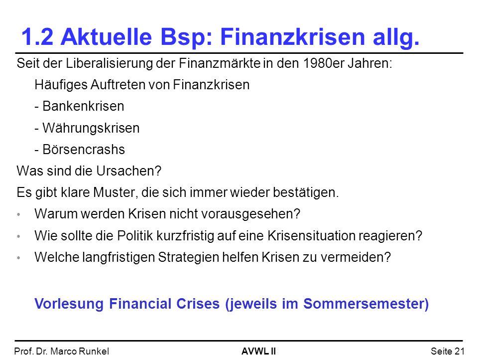 1.2 Aktuelle Bsp: Finanzkrisen allg.