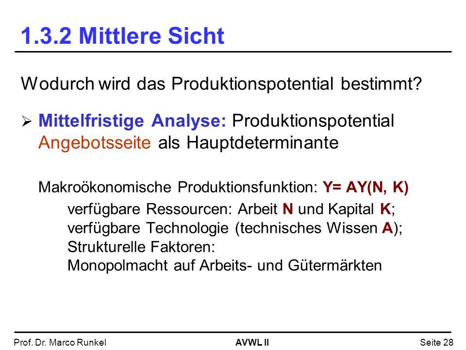1.3.2 Mittlere Sicht Wodurch wird das Produktionspotential bestimmt