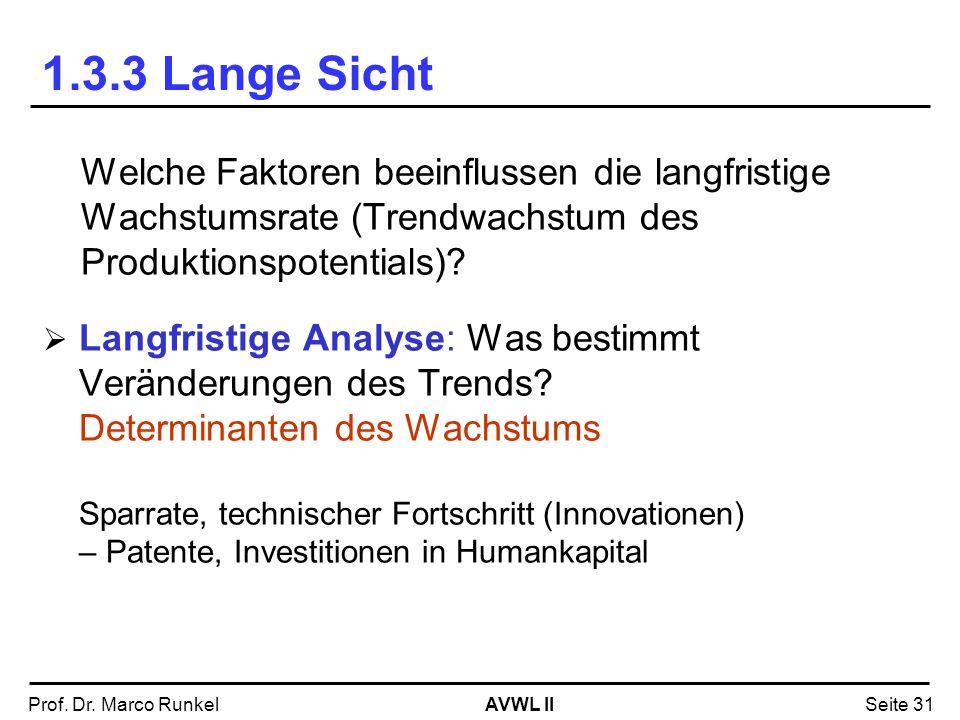 1.3.3 Lange Sicht Welche Faktoren beeinflussen die langfristige Wachstumsrate (Trendwachstum des Produktionspotentials)