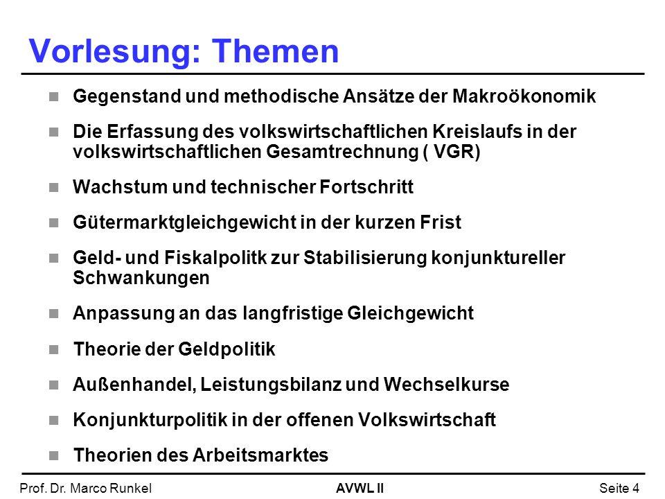 Vorlesung: Themen Gegenstand und methodische Ansätze der Makroökonomik
