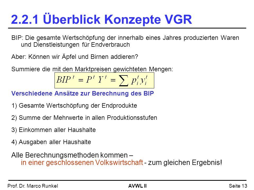 2.2.1 Überblick Konzepte VGR