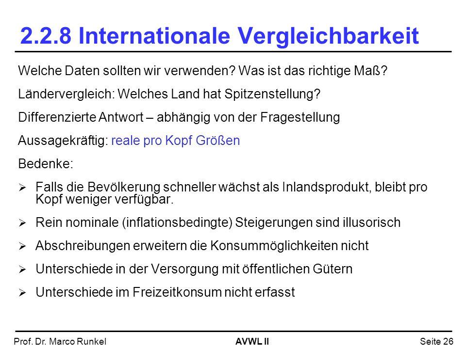 2.2.8 Internationale Vergleichbarkeit