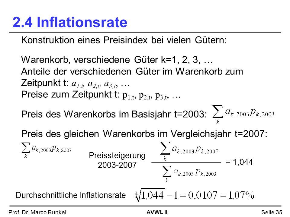 2.4 Inflationsrate Konstruktion eines Preisindex bei vielen Gütern: