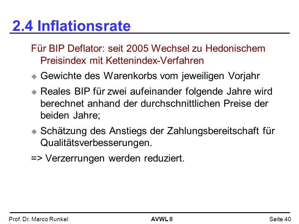 2.4 InflationsrateFür BIP Deflator: seit 2005 Wechsel zu Hedonischem Preisindex mit Kettenindex-Verfahren.