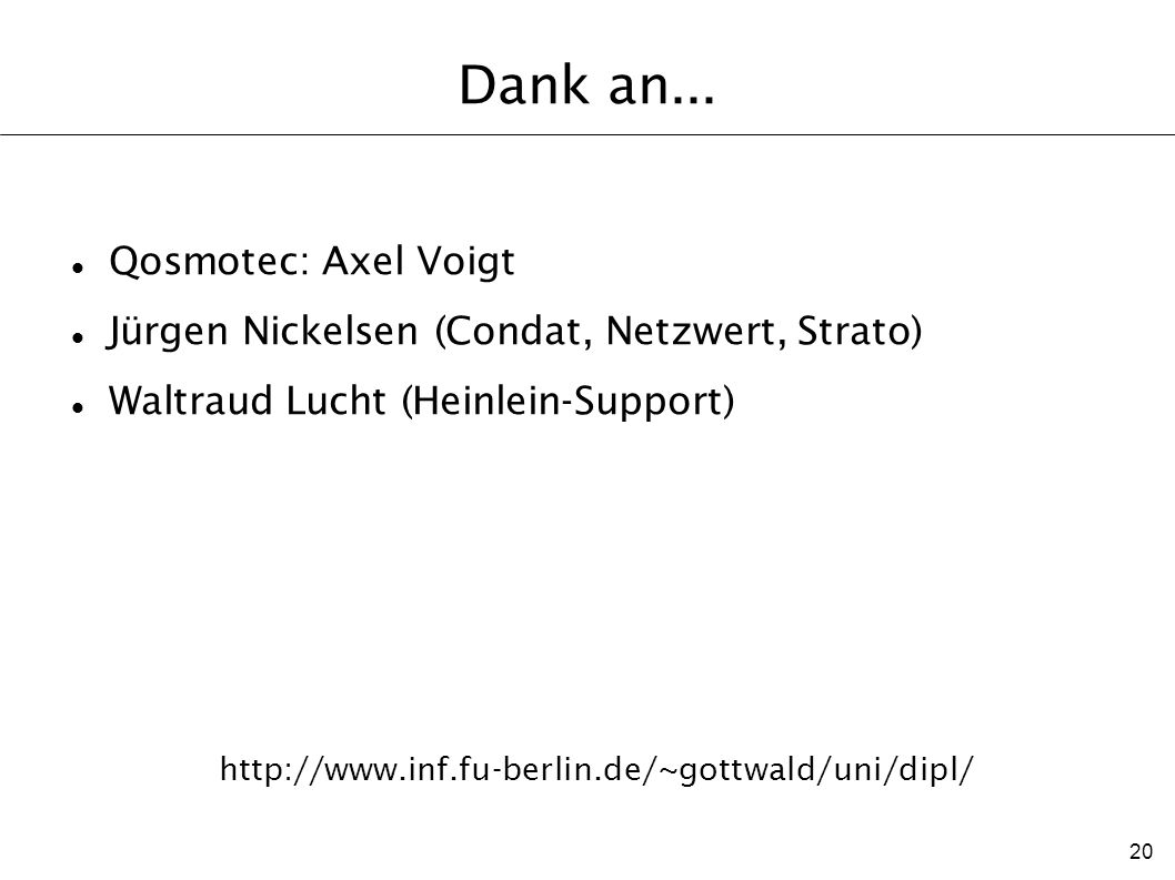 Dank an... Qosmotec: Axel Voigt