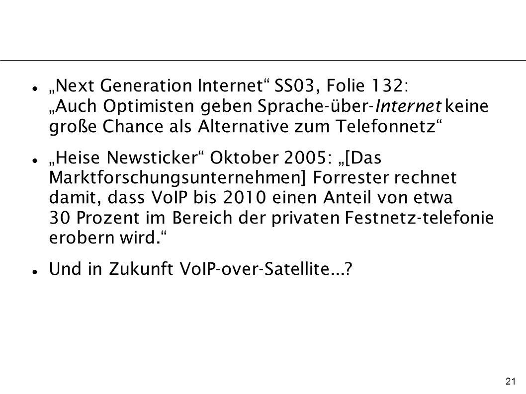 """""""Next Generation Internet SS03, Folie 132: """"Auch Optimisten geben Sprache-über-Internet keine große Chance als Alternative zum Telefonnetz"""