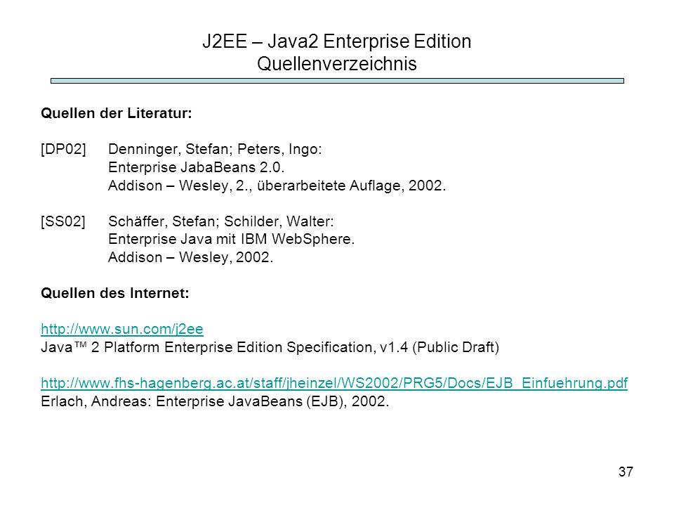 J2EE – Java2 Enterprise Edition Quellenverzeichnis