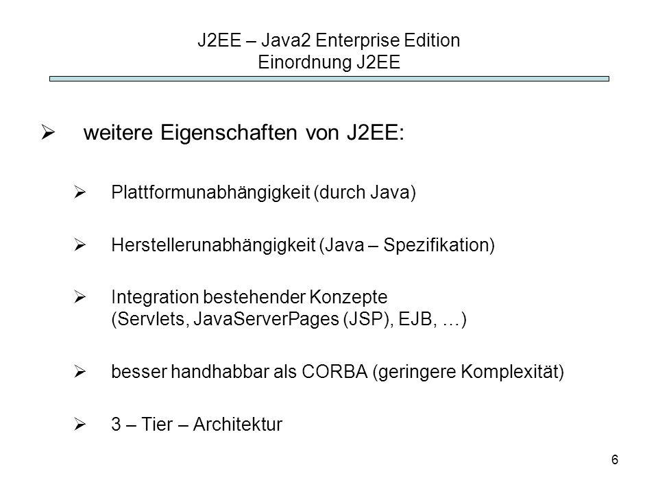 J2EE – Java2 Enterprise Edition Einordnung J2EE