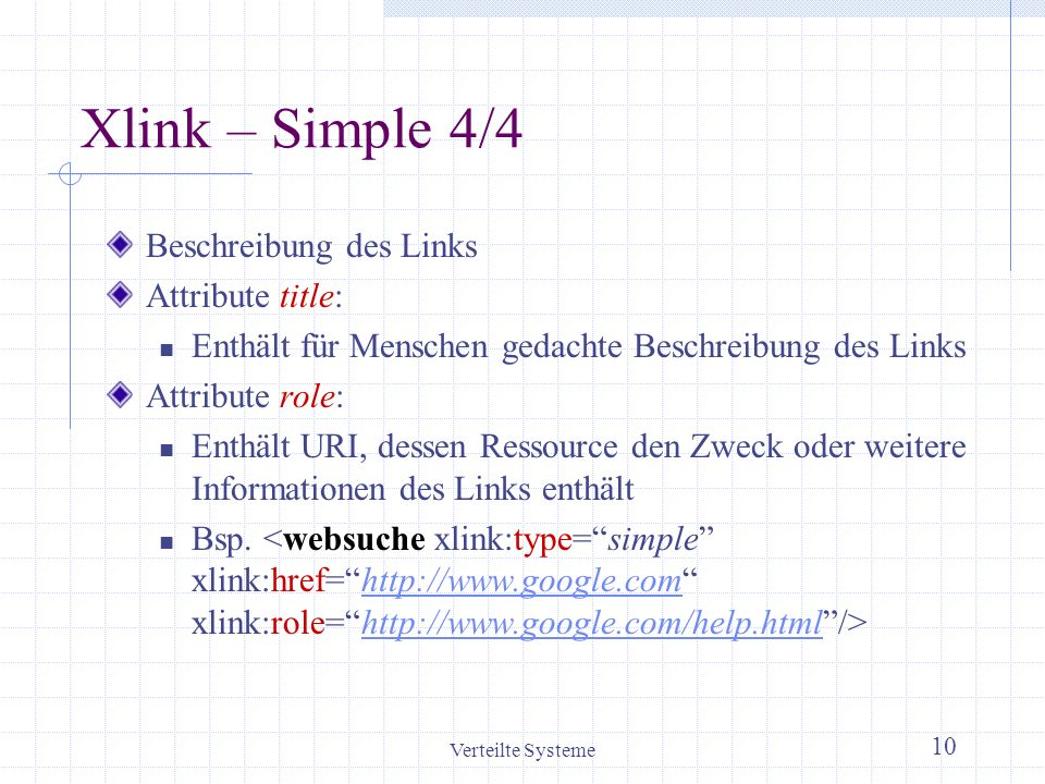 Xlink – Simple 4/4 Beschreibung des Links Attribute title: