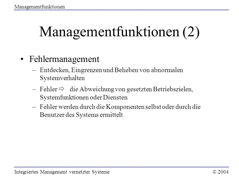 Managementfunktionen (2)