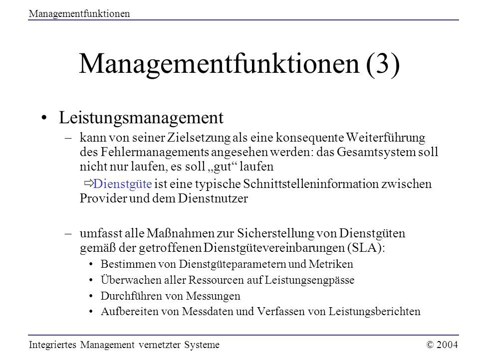 Managementfunktionen (3)