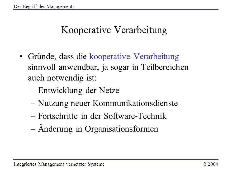 Kooperative Verarbeitung