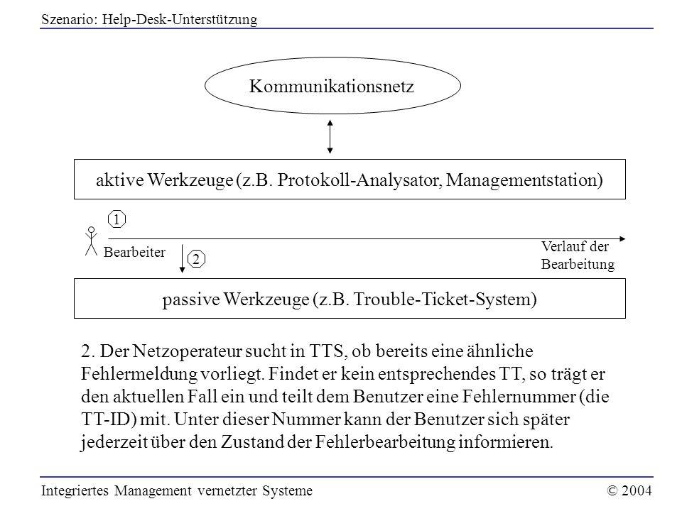 aktive Werkzeuge (z.B. Protokoll-Analysator, Managementstation)