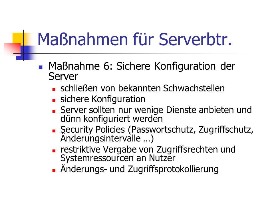 Maßnahmen für Serverbtr.