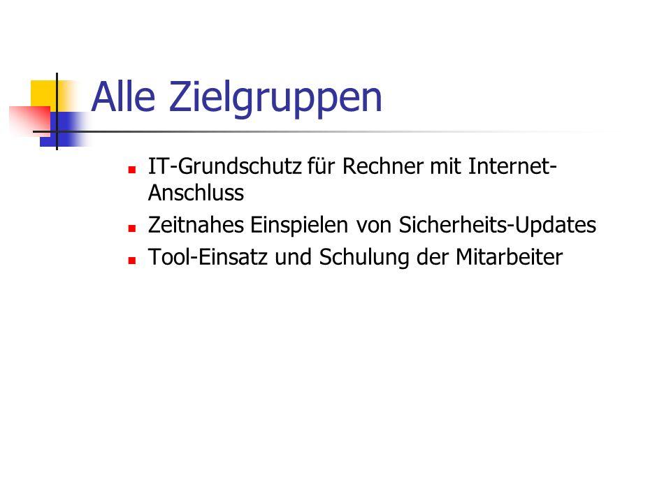 Alle Zielgruppen IT-Grundschutz für Rechner mit Internet-Anschluss