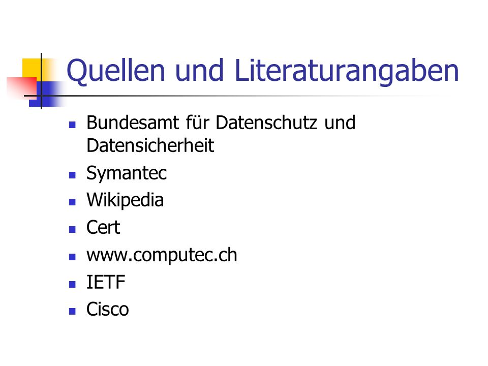 Quellen und Literaturangaben
