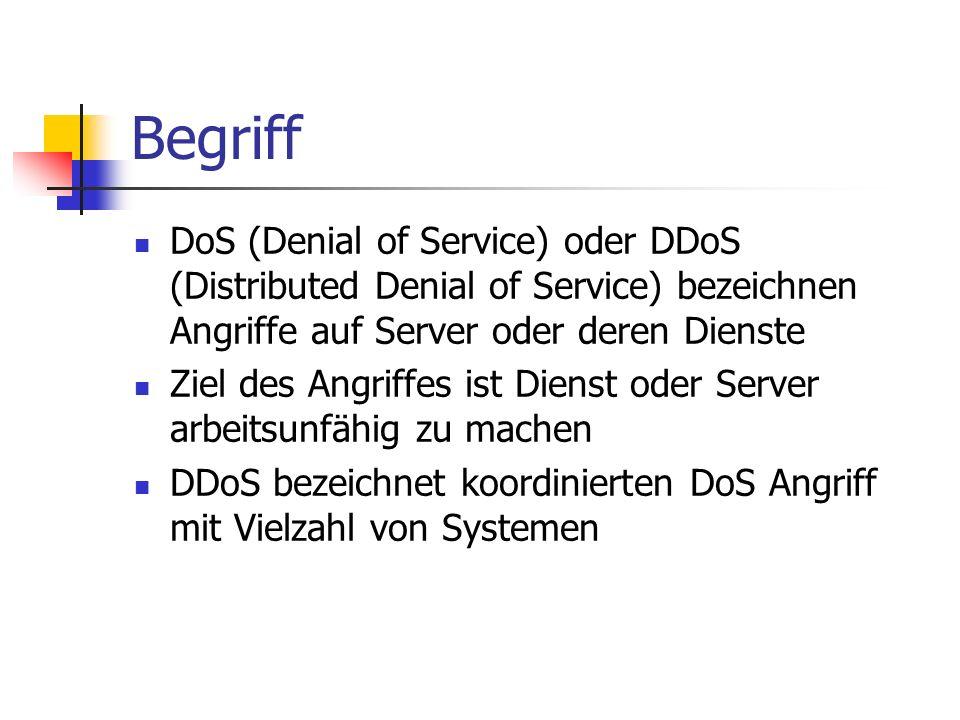 BegriffDoS (Denial of Service) oder DDoS (Distributed Denial of Service) bezeichnen Angriffe auf Server oder deren Dienste.