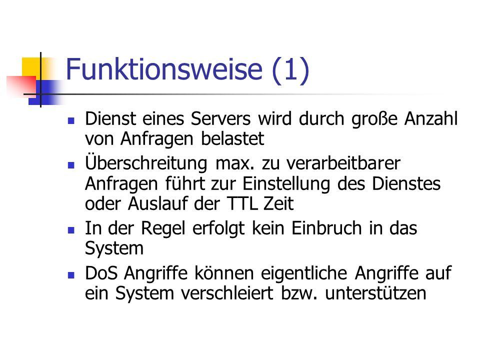 Funktionsweise (1) Dienst eines Servers wird durch große Anzahl von Anfragen belastet.