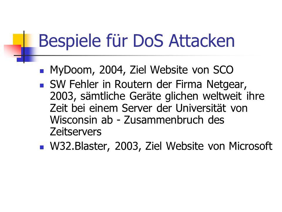 Bespiele für DoS Attacken