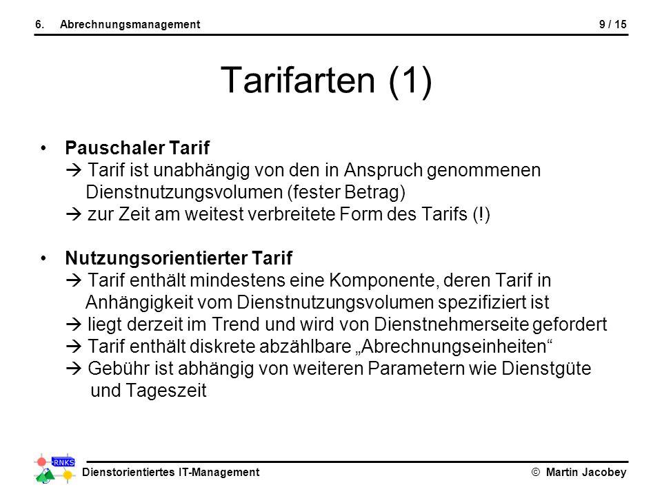 Tarifarten (1) Pauschaler Tarif
