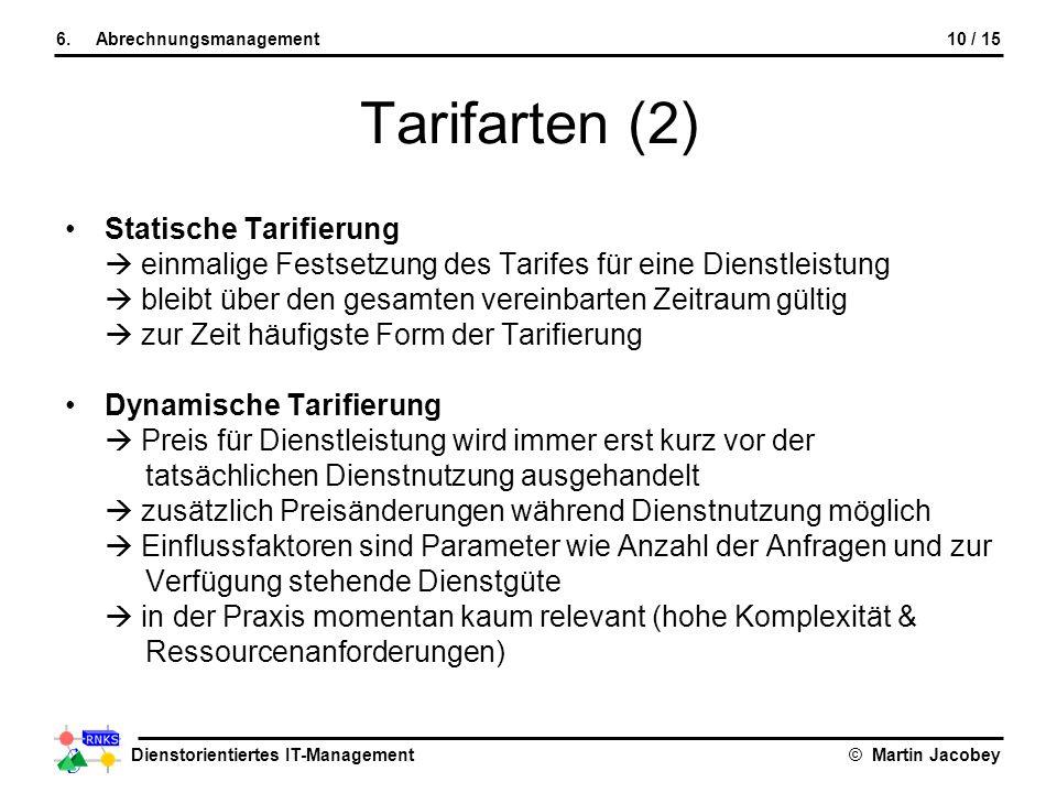 Tarifarten (2) Statische Tarifierung