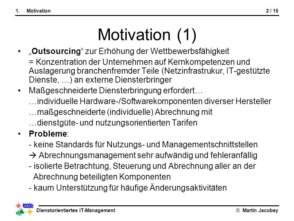 """Motivation (1) """"Outsourcing zur Erhöhung der Wettbewerbsfähigkeit"""