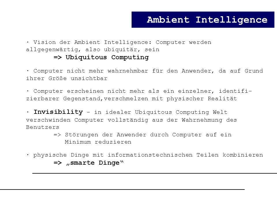 "Ambient Intelligence => Ubiquitous Computing => ""smarte Dinge"