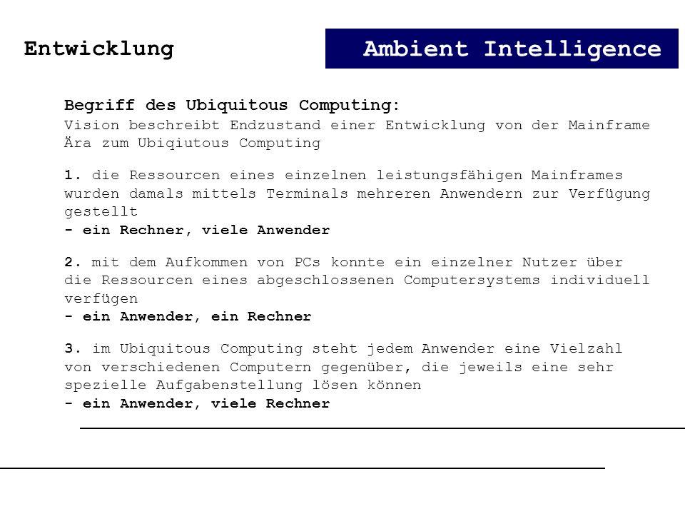 Ambient Intelligence Entwicklung Begriff des Ubiquitous Computing: