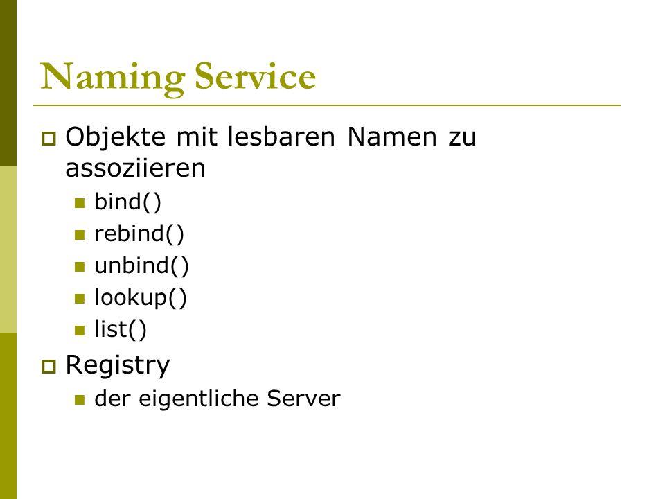 Naming Service Objekte mit lesbaren Namen zu assoziieren Registry